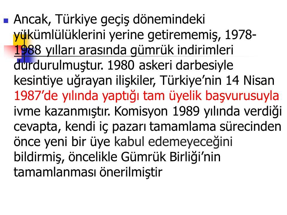 Ancak, Türkiye geçiş dönemindeki yükümlülüklerini yerine getirememiş, 1978-1988 yılları arasında gümrük indirimleri durdurulmuştur.