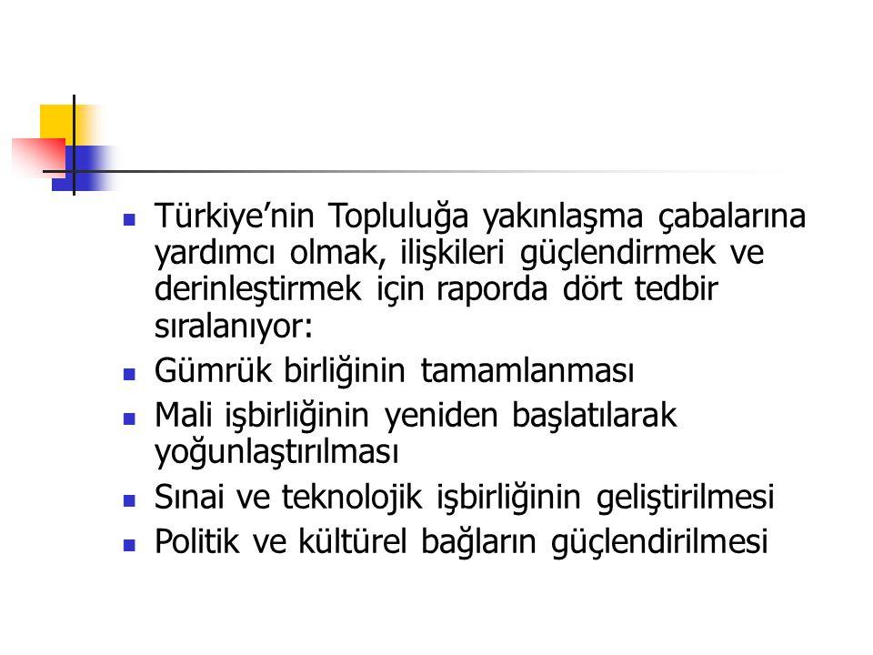 Türkiye'nin Topluluğa yakınlaşma çabalarına yardımcı olmak, ilişkileri güçlendirmek ve derinleştirmek için raporda dört tedbir sıralanıyor: