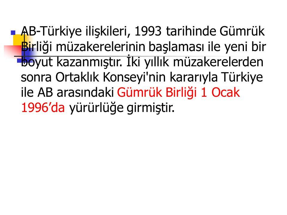 AB-Türkiye ilişkileri, 1993 tarihinde Gümrük Birliği müzakerelerinin başlaması ile yeni bir boyut kazanmıştır.