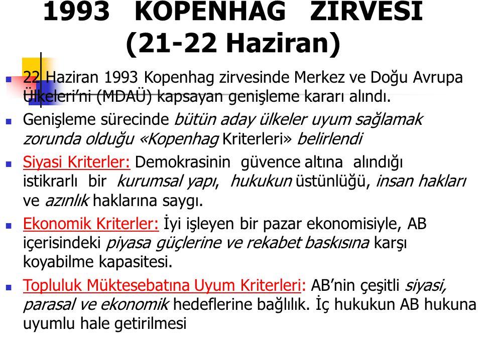 1993 KOPENHAG ZİRVESİ (21-22 Haziran)