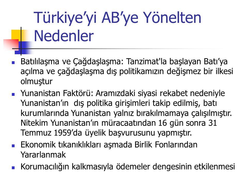 Türkiye'yi AB'ye Yönelten Nedenler