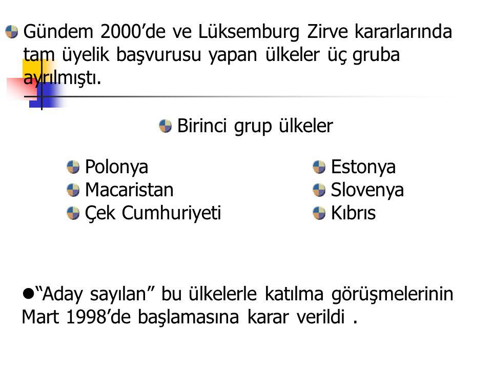 Gündem 2000'de ve Lüksemburg Zirve kararlarında tam üyelik başvurusu yapan ülkeler üç gruba ayrılmıştı.