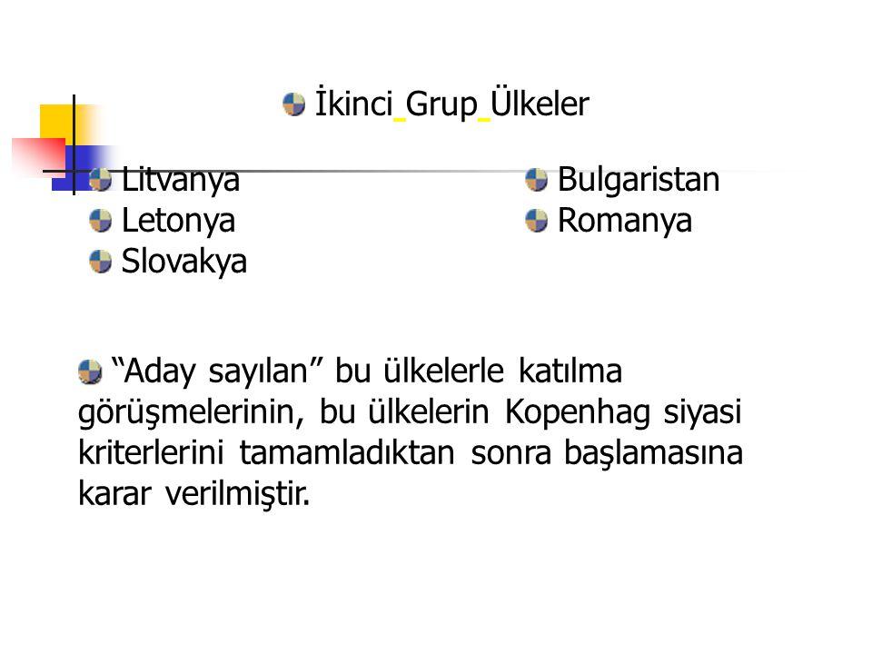 İkinci Grup Ülkeler Litvanya. Letonya. Slovakya. Bulgaristan. Romanya.
