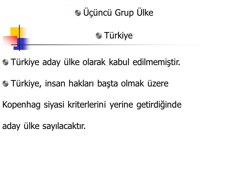Üçüncü Grup Ülke Türkiye. Türkiye aday ülke olarak kabul edilmemiştir. Türkiye, insan hakları başta olmak üzere.