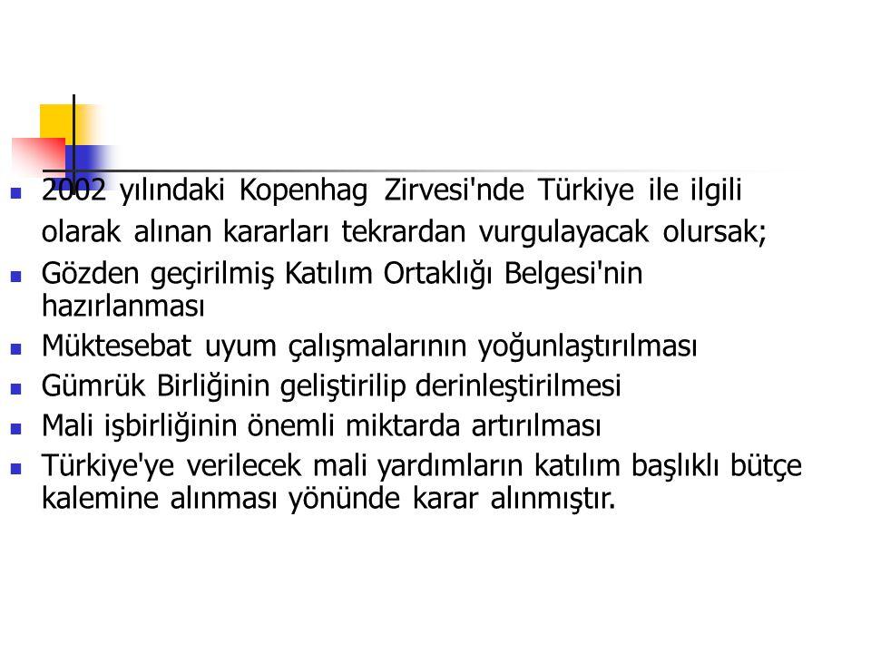 2002 yılındaki Kopenhag Zirvesi nde Türkiye ile ilgili olarak alınan kararları tekrardan vurgulayacak olursak;