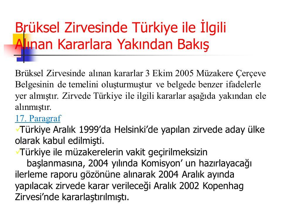 Brüksel Zirvesinde Türkiye ile İlgili Alınan Kararlara Yakından Bakış