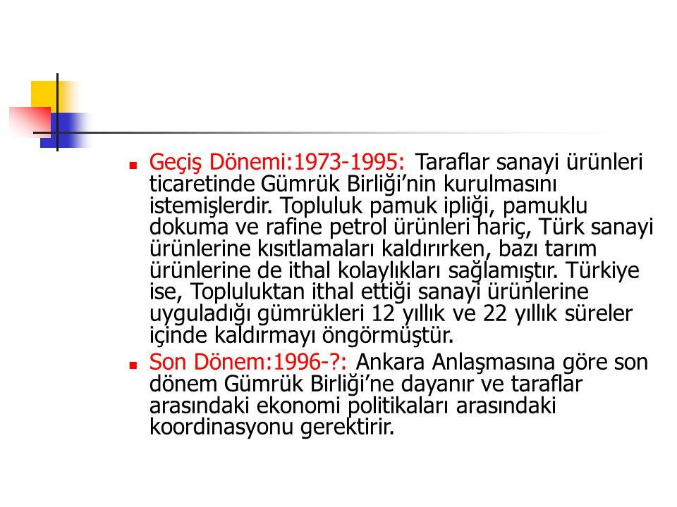 Geçiş Dönemi:1973-1995: Taraflar sanayi ürünleri ticaretinde Gümrük Birliği'nin kurulmasını istemişlerdir. Topluluk pamuk ipliği, pamuklu dokuma ve rafine petrol ürünleri hariç, Türk sanayi ürünlerine kısıtlamaları kaldırırken, bazı tarım ürünlerine de ithal kolaylıkları sağlamıştır. Türkiye ise, Topluluktan ithal ettiği sanayi ürünlerine uyguladığı gümrükleri 12 yıllık ve 22 yıllık süreler içinde kaldırmayı öngörmüştür.