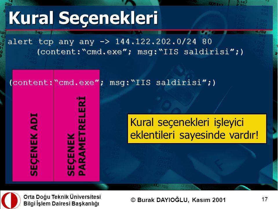 Kural Seçenekleri alert tcp any any -> 144.122.202.0/24 80 (content: cmd.exe ; msg: IIS saldirisi ;)