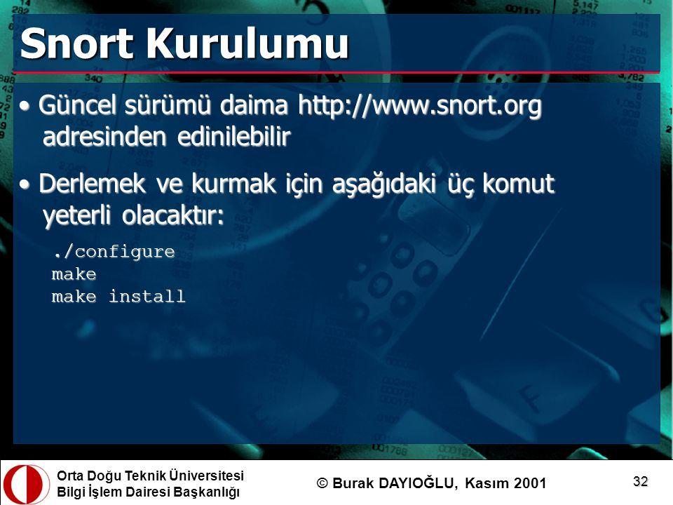 Snort Kurulumu Güncel sürümü daima http://www.snort.org adresinden edinilebilir. Derlemek ve kurmak için aşağıdaki üç komut yeterli olacaktır: