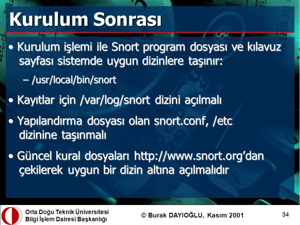 Kurulum Sonrası Kurulum işlemi ile Snort program dosyası ve kılavuz sayfası sistemde uygun dizinlere taşınır: