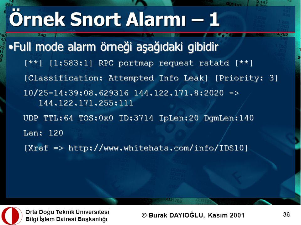 Örnek Snort Alarmı – 1 Full mode alarm örneği aşağıdaki gibidir