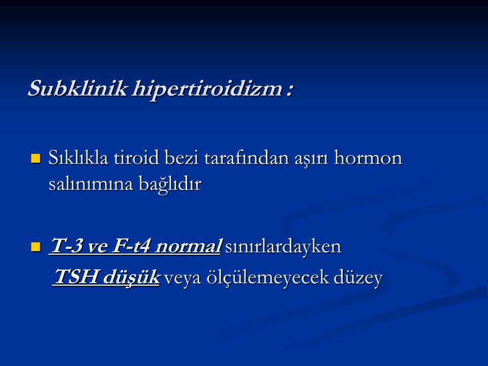 Subklinik hipertiroidizm :
