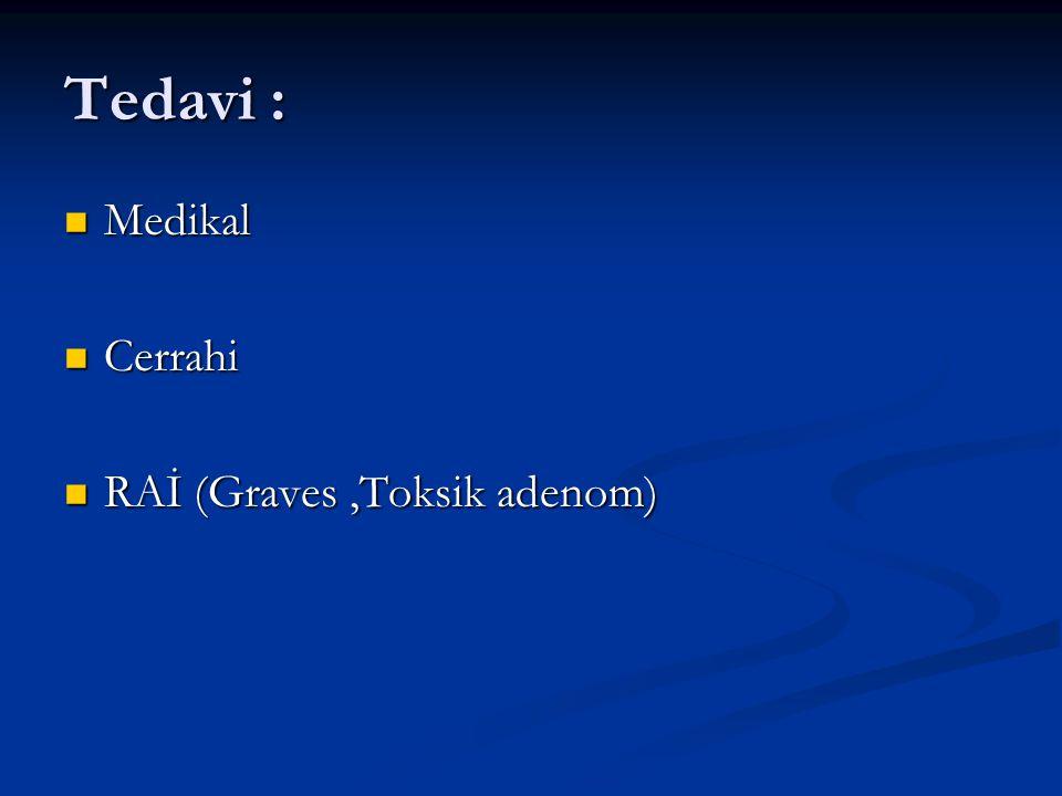 Tedavi : Medikal Cerrahi RAİ (Graves ,Toksik adenom)