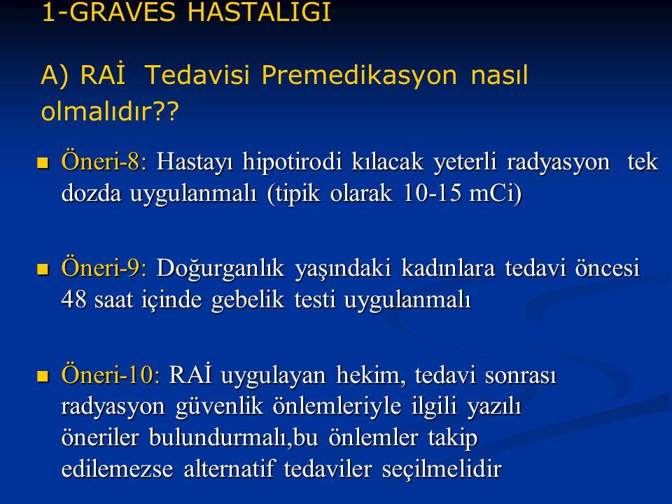 1-GRAVES HASTALIĞI A) RAİ Tedavisi Premedikasyon nasıl olmalıdır