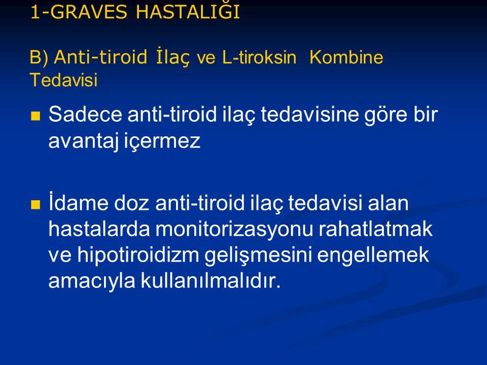 1-GRAVES HASTALIĞI B) Anti-tiroid İlaç ve L-tiroksin Kombine Tedavisi