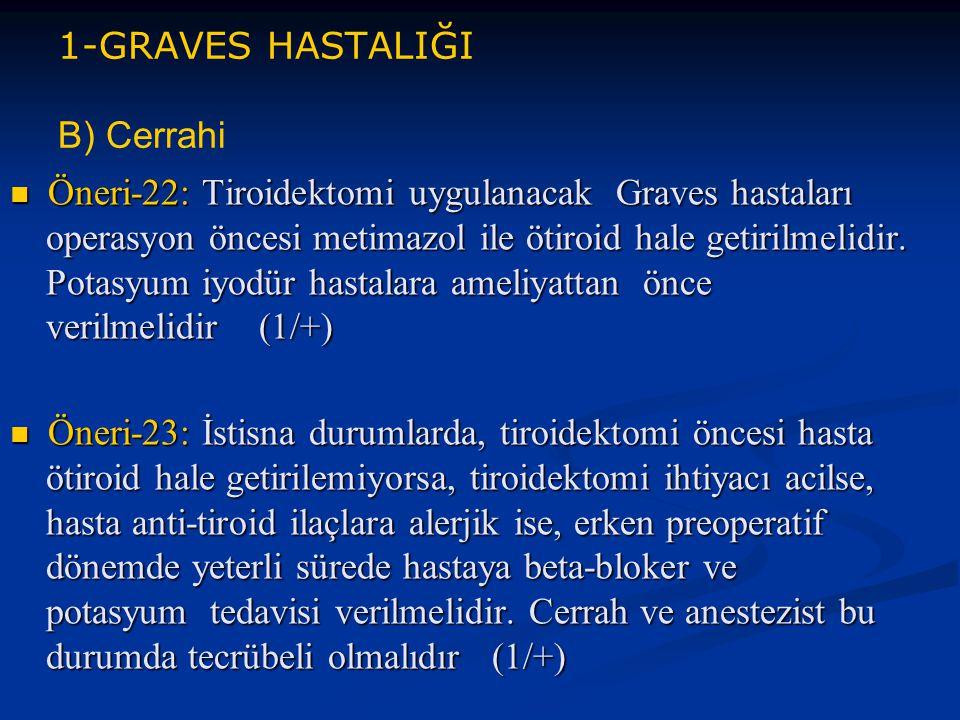 1-GRAVES HASTALIĞI B) Cerrahi