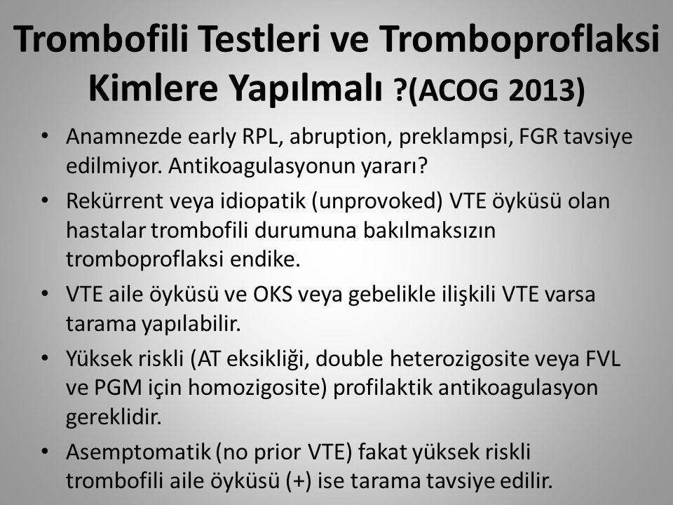 Trombofili Testleri ve Tromboproflaksi Kimlere Yapılmalı (ACOG 2013)