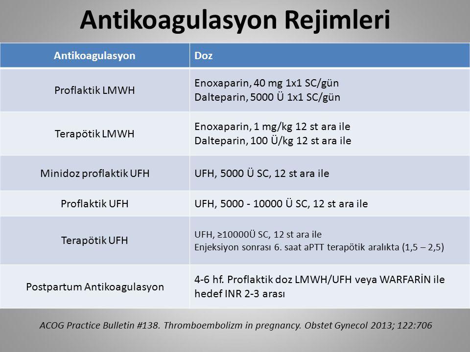 Antikoagulasyon Rejimleri