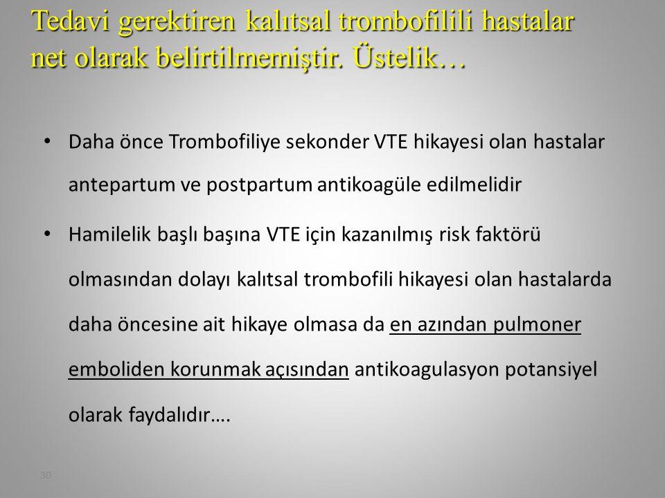 Tedavi gerektiren kalıtsal trombofilili hastalar net olarak belirtilmemiştir. Üstelik…