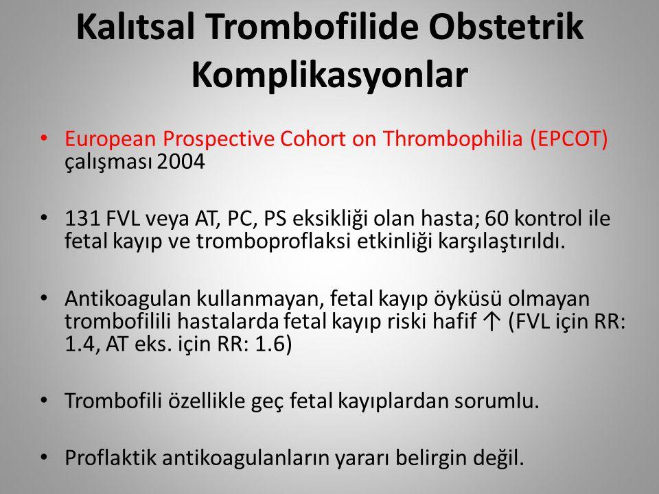 Kalıtsal Trombofilide Obstetrik Komplikasyonlar