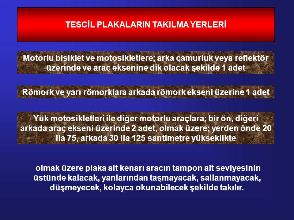 TESCİL PLAKALARIN TAKILMA YERLERİ