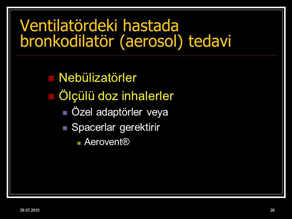 Ventilatördeki hastada bronkodilatör (aerosol) tedavi