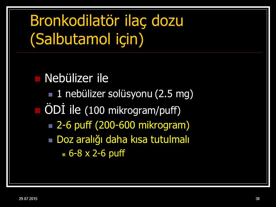 Bronkodilatör ilaç dozu (Salbutamol için)