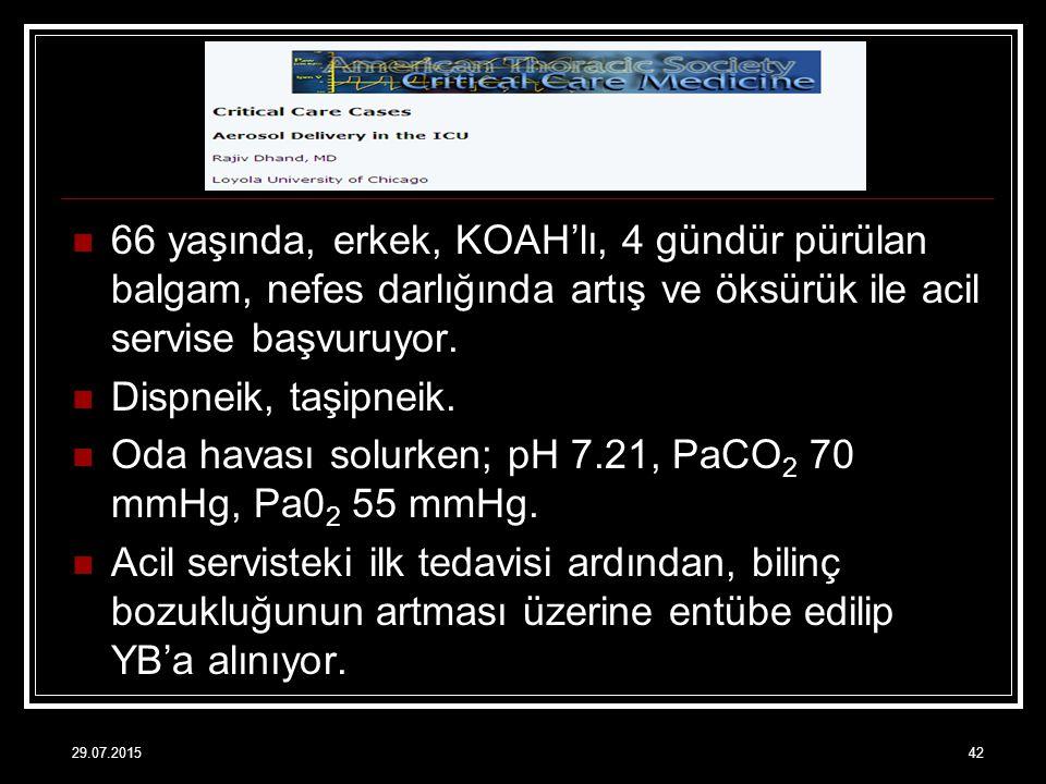 Oda havası solurken; pH 7.21, PaCO2 70 mmHg, Pa02 55 mmHg.