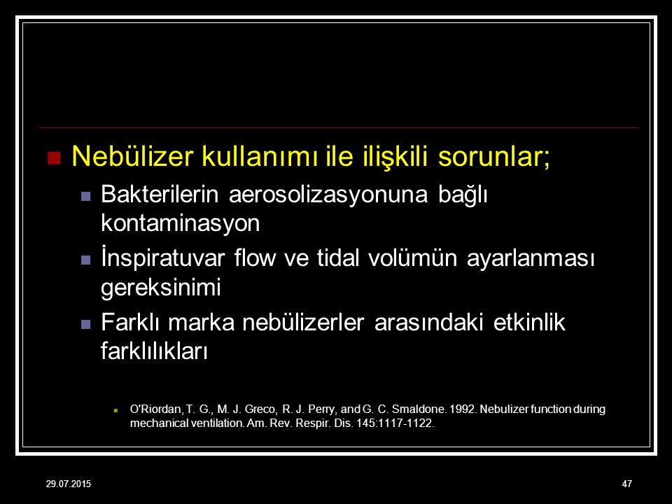 Nebülizer kullanımı ile ilişkili sorunlar;