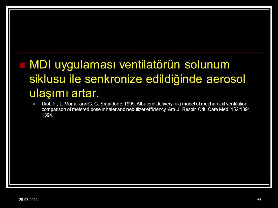 MDI uygulaması ventilatörün solunum siklusu ile senkronize edildiğinde aerosol ulaşımı artar.