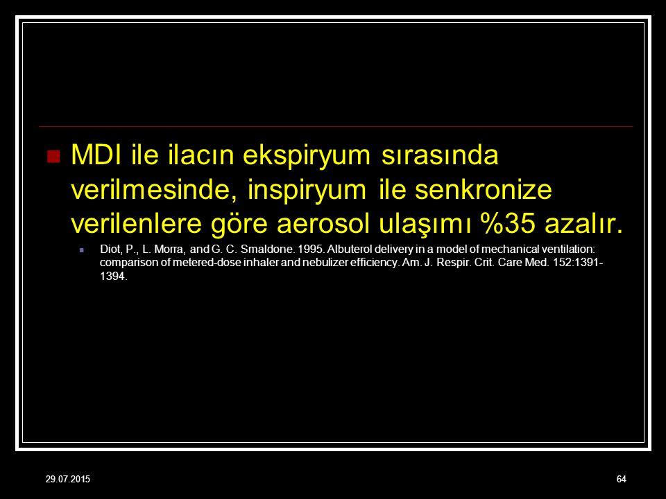 MDI ile ilacın ekspiryum sırasında verilmesinde, inspiryum ile senkronize verilenlere göre aerosol ulaşımı %35 azalır.