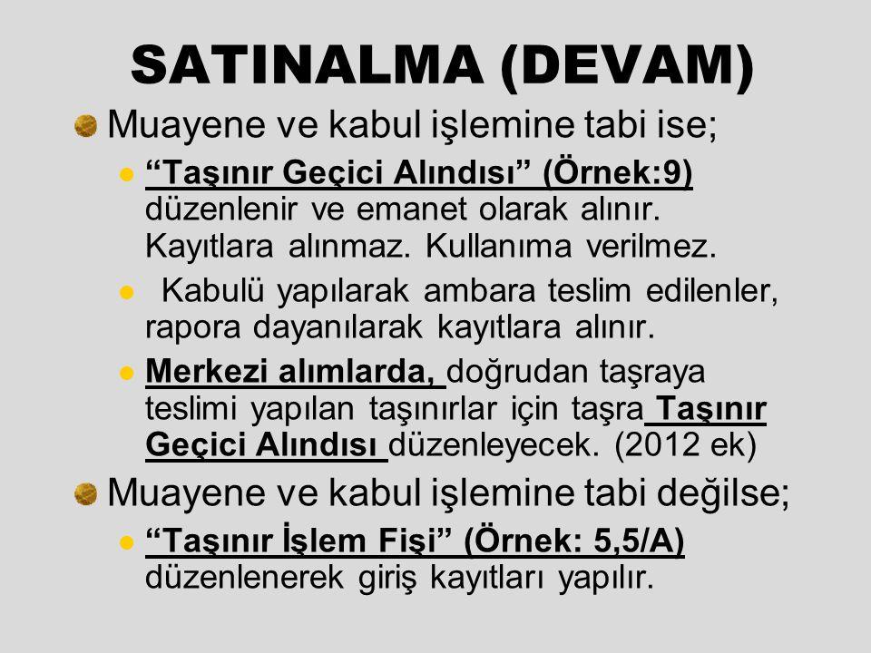 SATINALMA (DEVAM) Muayene ve kabul işlemine tabi ise;