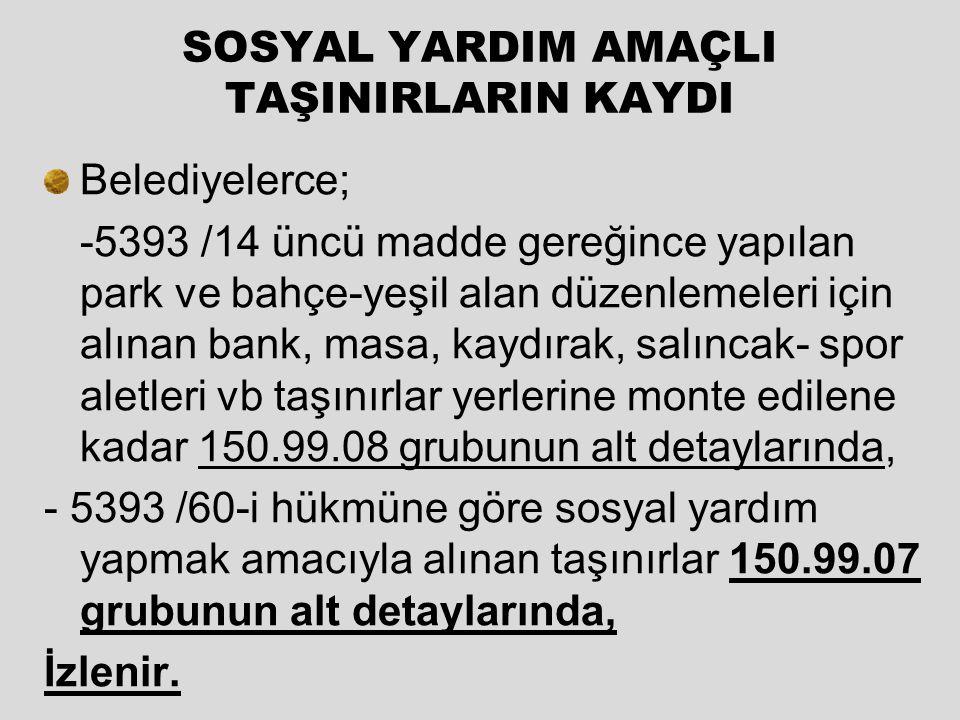 SOSYAL YARDIM AMAÇLI TAŞINIRLARIN KAYDI