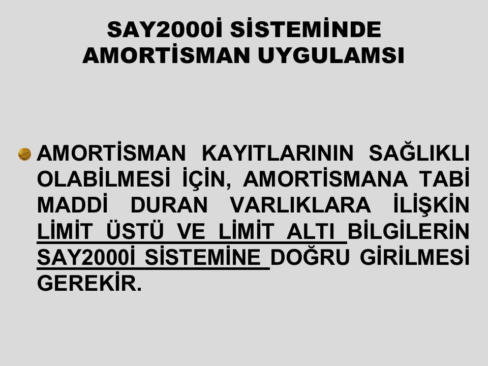 SAY2000İ SİSTEMİNDE AMORTİSMAN UYGULAMSI