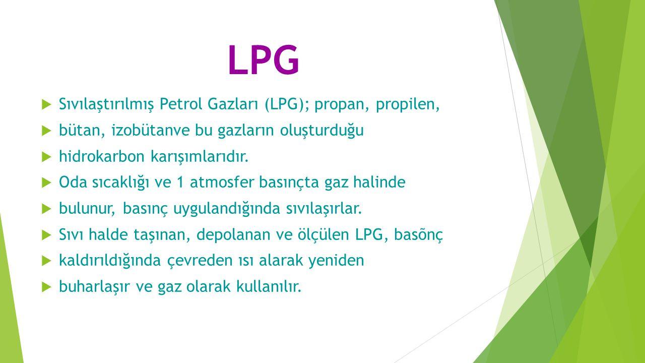 LPG Sıvılaştırılmış Petrol Gazları (LPG); propan, propilen,
