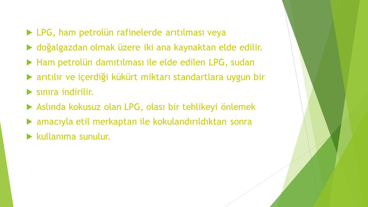 LPG, ham petrolün rafinelerde arıtılması veya