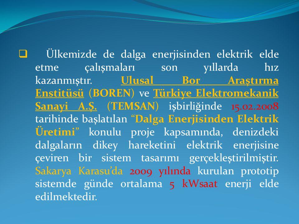 Ülkemizde de dalga enerjisinden elektrik elde etme çalışmaları son yıllarda hız kazanmıştır. Ulusal Bor Araştırma Enstitüsü (BOREN) ve Türkiye Elektromekanik Sanayi A.Ş. (TEMSAN) işbirliğinde 15.02.2008 tarihinde başlatılan Dalga Enerjisinden Elektrik Üretimi konulu proje kapsamında, denizdeki dalgaların dikey hareketini elektrik enerjisine çeviren bir sistem tasarımı gerçekleştirilmiştir.