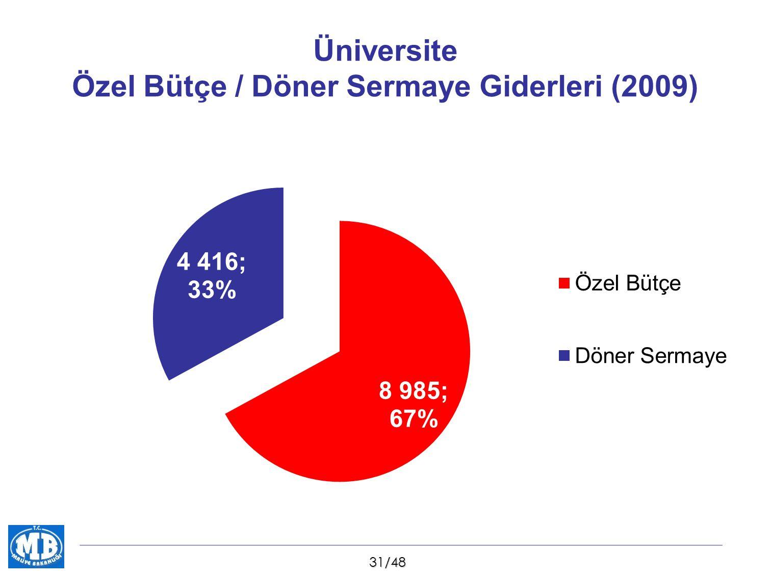 Üniversite Özel Bütçe / Döner Sermaye Giderleri (2009)
