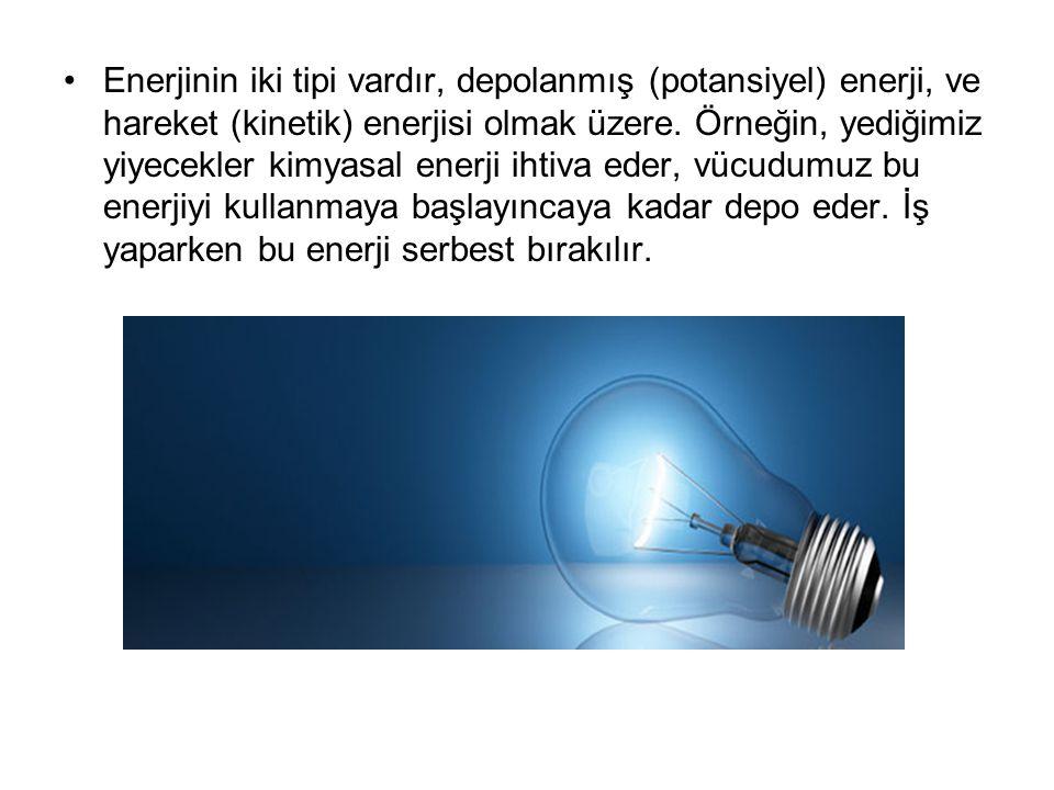 Enerjinin iki tipi vardır, depolanmış (potansiyel) enerji, ve hareket (kinetik) enerjisi olmak üzere.