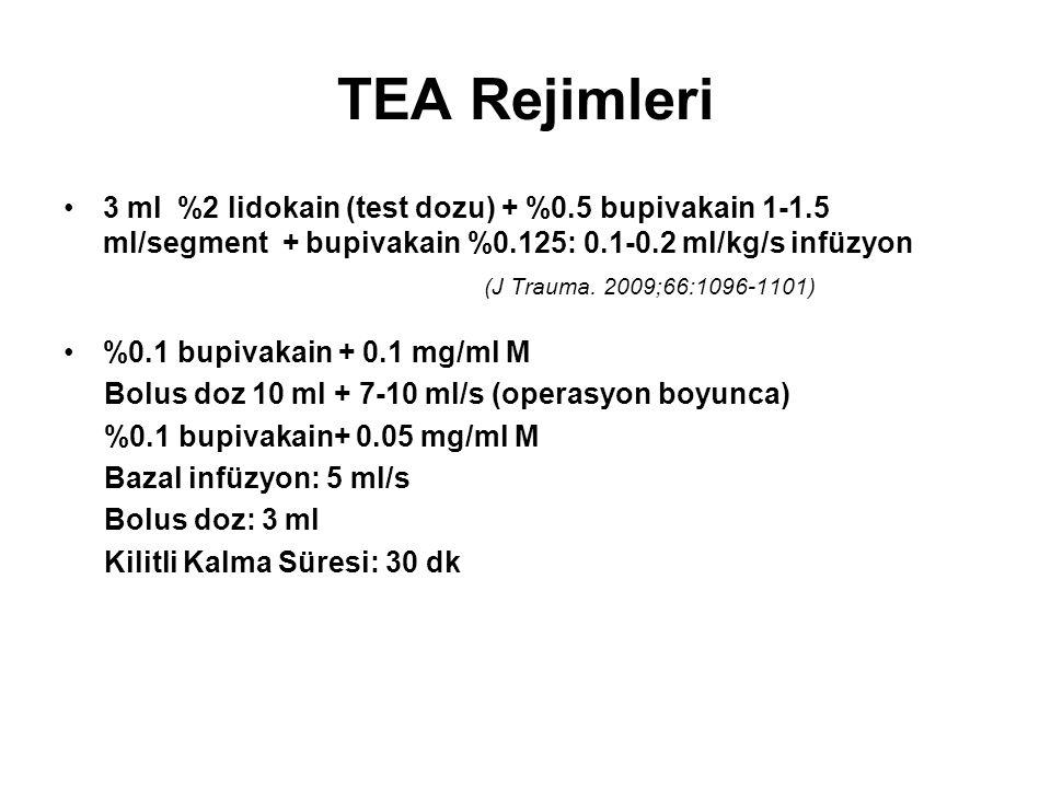 TEA Rejimleri 3 ml %2 lidokain (test dozu) + %0.5 bupivakain 1-1.5 ml/segment + bupivakain %0.125: 0.1-0.2 ml/kg/s infüzyon.