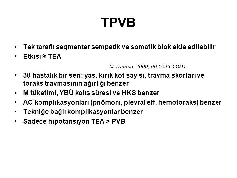 TPVB Tek taraflı segmenter sempatik ve somatik blok elde edilebilir
