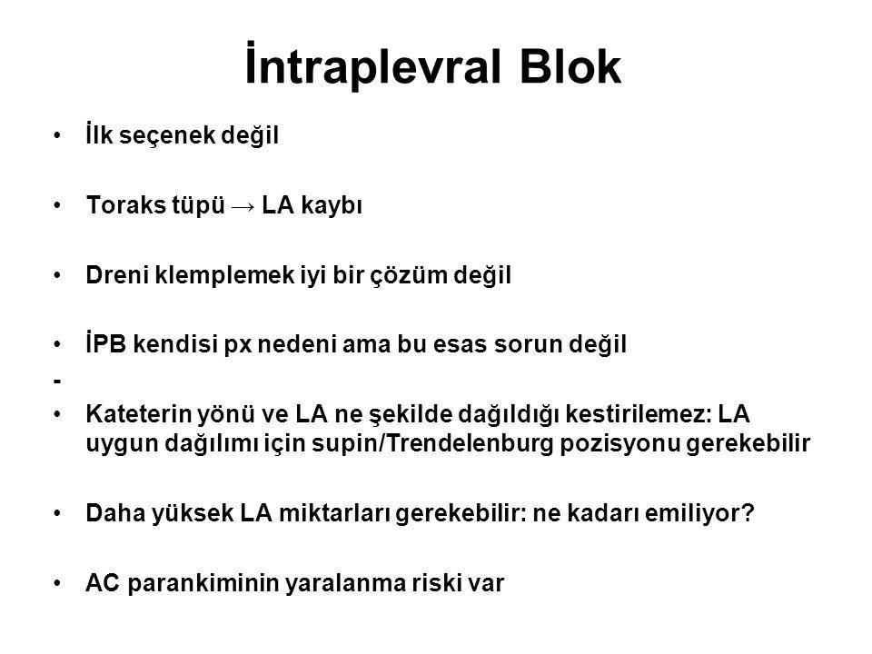 İntraplevral Blok İlk seçenek değil Toraks tüpü → LA kaybı