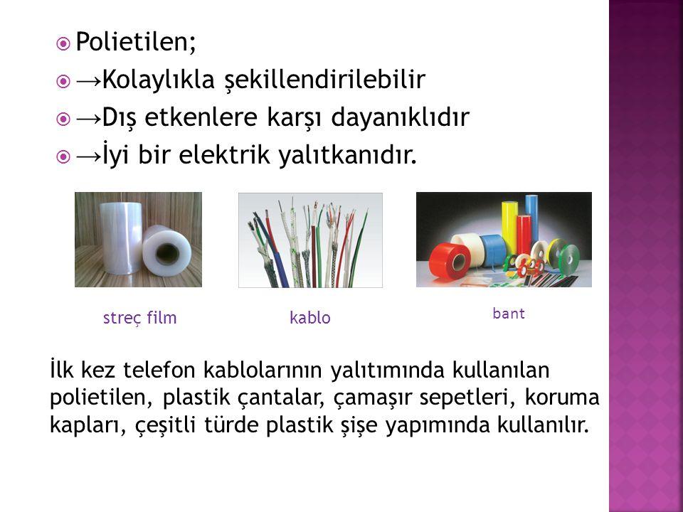 →Kolaylıkla şekillendirilebilir →Dış etkenlere karşı dayanıklıdır