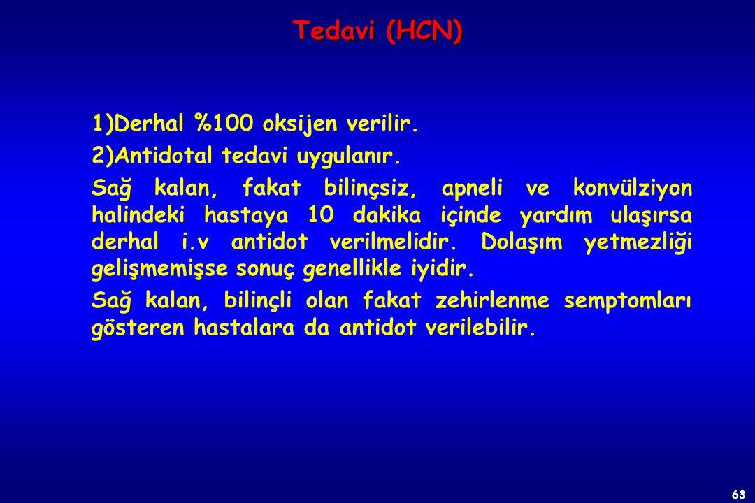 Tedavi (HCN) 1)Derhal %100 oksijen verilir.