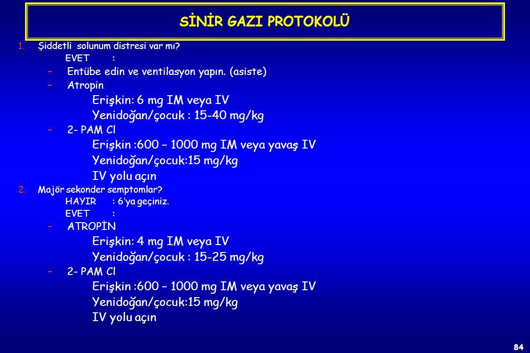 SİNİR GAZI PROTOKOLÜ Erişkin: 6 mg IM veya IV