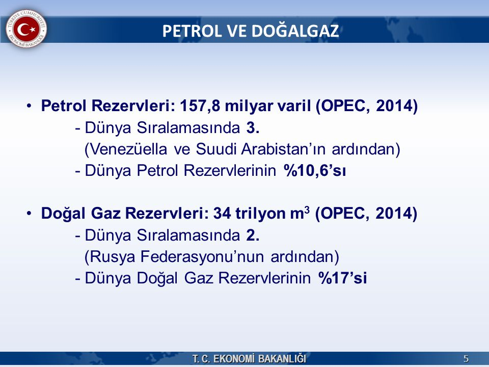 PETROL VE DOĞALGAZ Petrol Rezervleri: 157,8 milyar varil (OPEC, 2014)