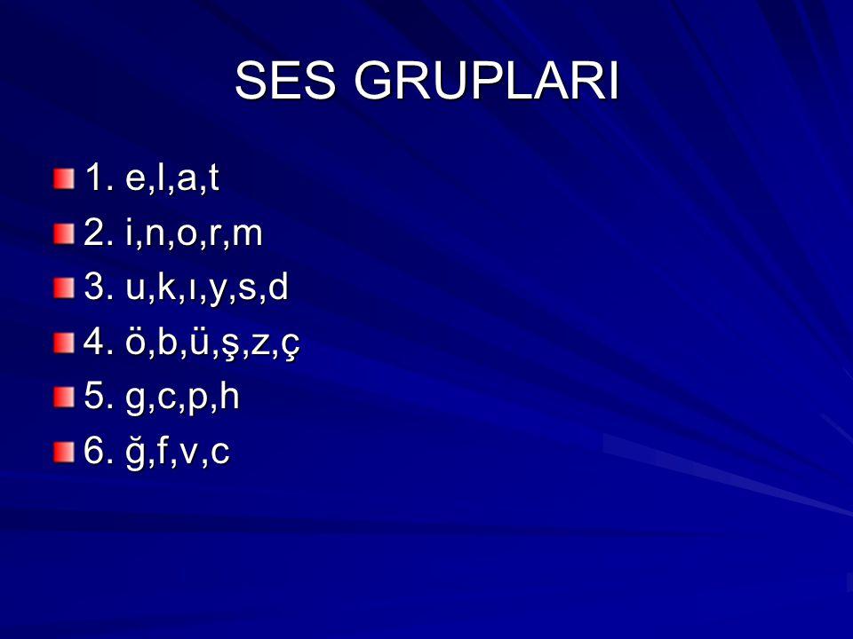 SES GRUPLARI 1. e,l,a,t 2. i,n,o,r,m 3. u,k,ı,y,s,d 4. ö,b,ü,ş,z,ç