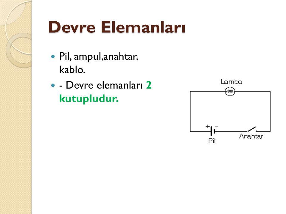 Devre Elemanları Pil, ampul,anahtar, kablo.