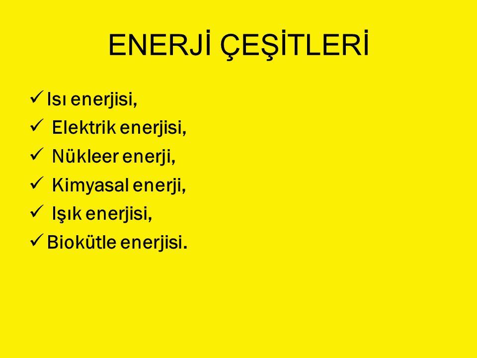 ENERJİ ÇEŞİTLERİ Isı enerjisi, Elektrik enerjisi, Nükleer enerji,