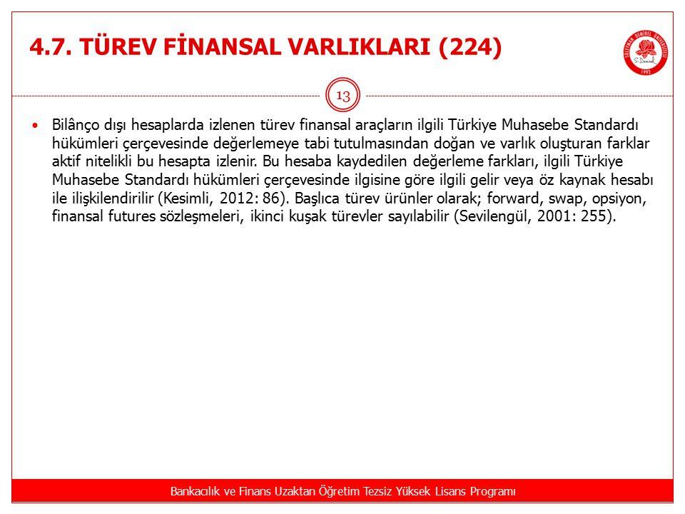 4.7. TÜREV FİNANSAL VARLIKLARI (224)